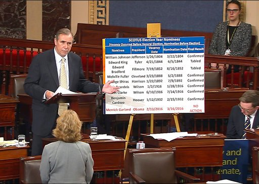 In this frame grab from video provided by Senate Television, Sen. Jeff Merkley, D-Ore. speaks on the floor of the Senate on Capitol Hill in Washington.     Senate Television via AP