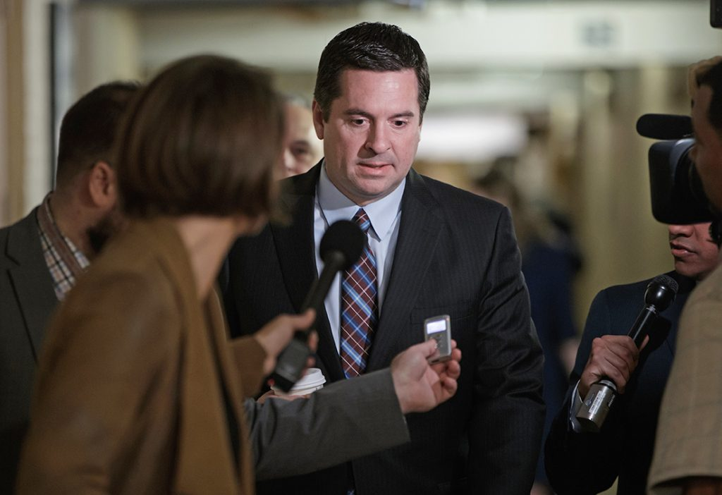House Intelligence Committee Chairman Rep. Devin Nunes, R-Calif. is pursued by reporters on Capitol Hill on March 28, 2017.  Nunes says he's temporarily stepping aside from Russia probe amid ethics accusations.
