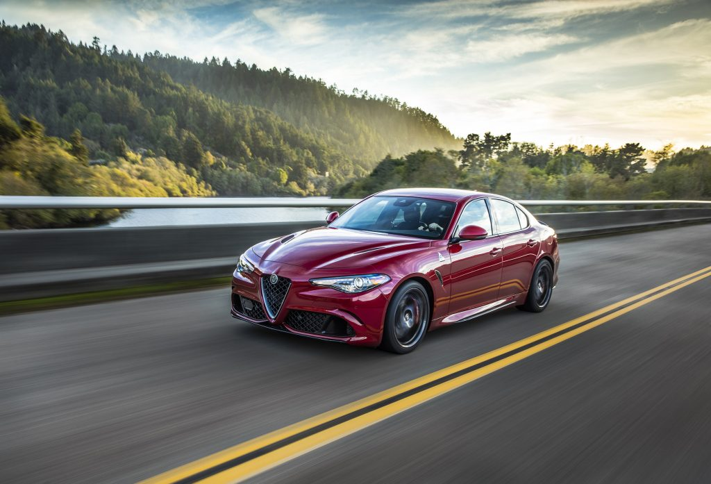 The 2017 Alfa Romeo Giulia Quadrifoglio is Alfa Romeo's first mainstream sedan offered in the U.S. market since the 1995 164.