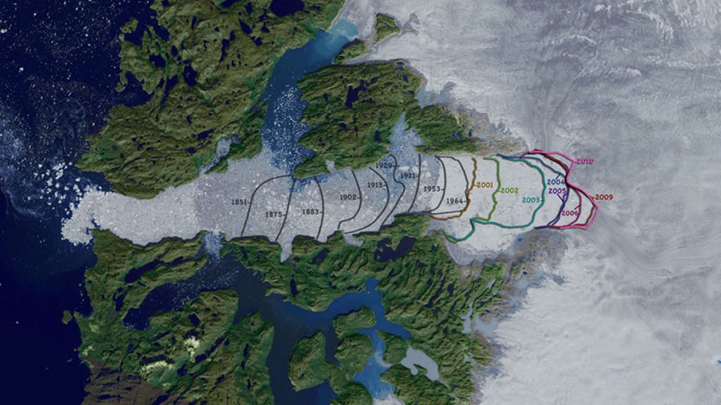 The retreat of Jakobshavn glacier since 1851.