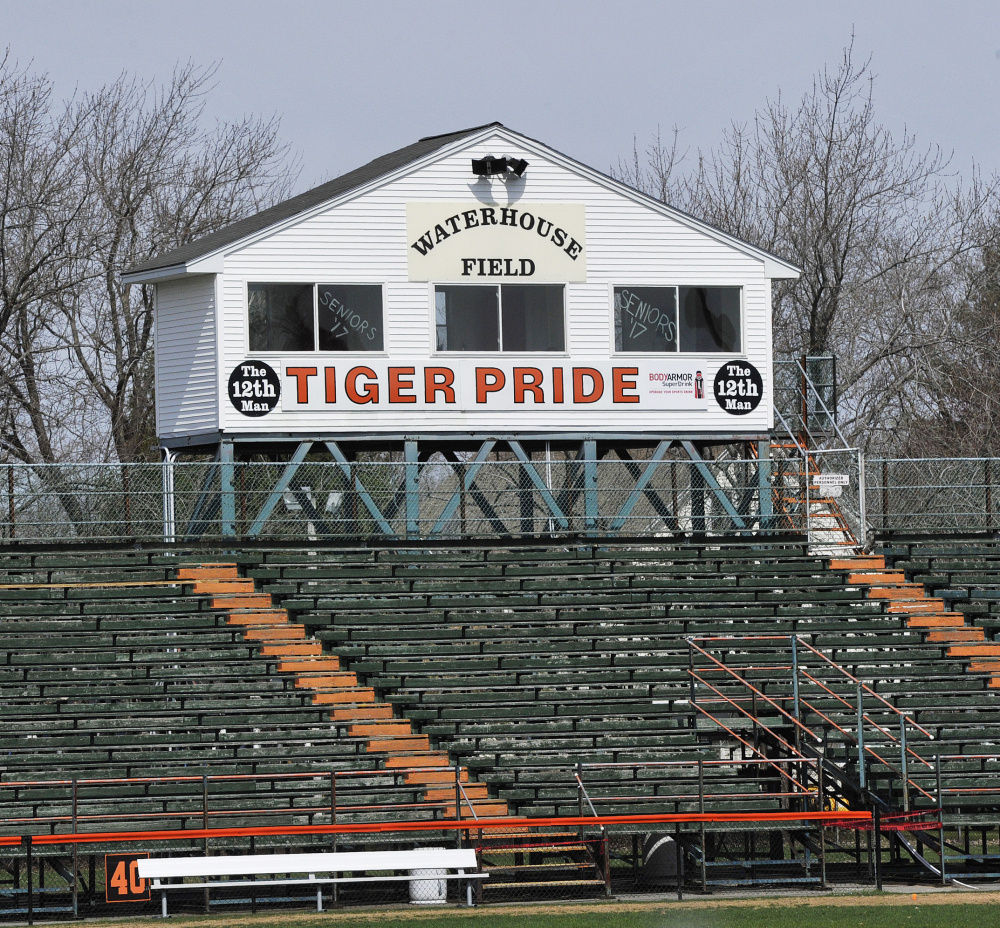 Biddeford's Waterhouse Field, where the bleachers were taped off, has been closed since April 11.