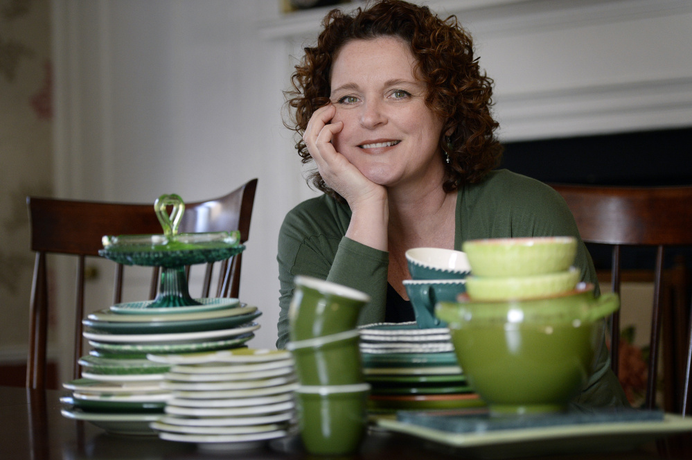 "Green Plate Special columnist Christine Burns Rudalevige says her china cabinet is ""sagging under the weight"" of her collection of green plates. She buys them at ""flea markets, wherever I see them"" and gets help from her daughter Eliza, too, ""a Goodwill shopper. She'll spend hours in there and find green plates for me."""
