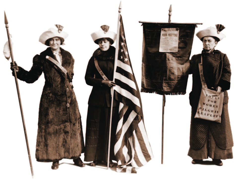 Jessie Stubbs, Rosalie Jones and Ida Craft join in the Suffrage Hike of 1912 from Manhattan to Albany, New York.