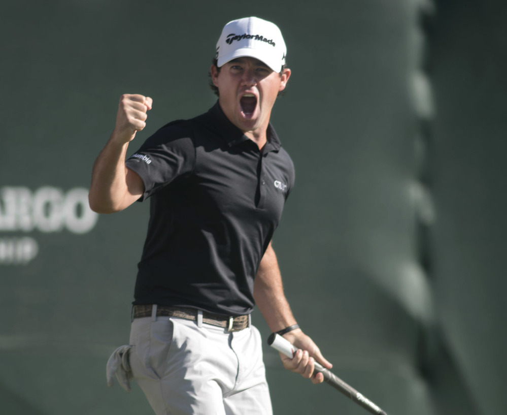 Brian Harman celebrates after his birdie putt on the 18th hole that gave him the victory Sunday at the Wells Fargo Championship in Wilmington, N.C.