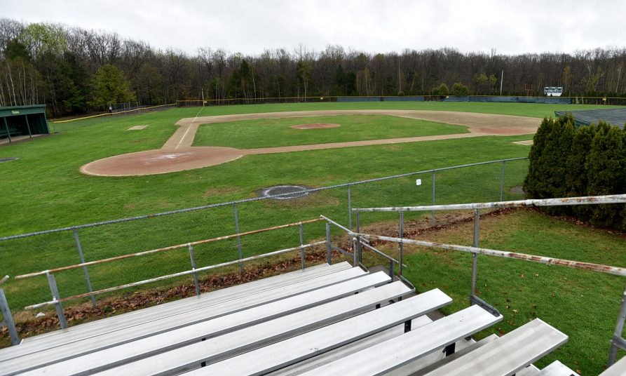 The baseball field at Winslow High School in Winslow is sodden on Saturday as rain falls, yet again.