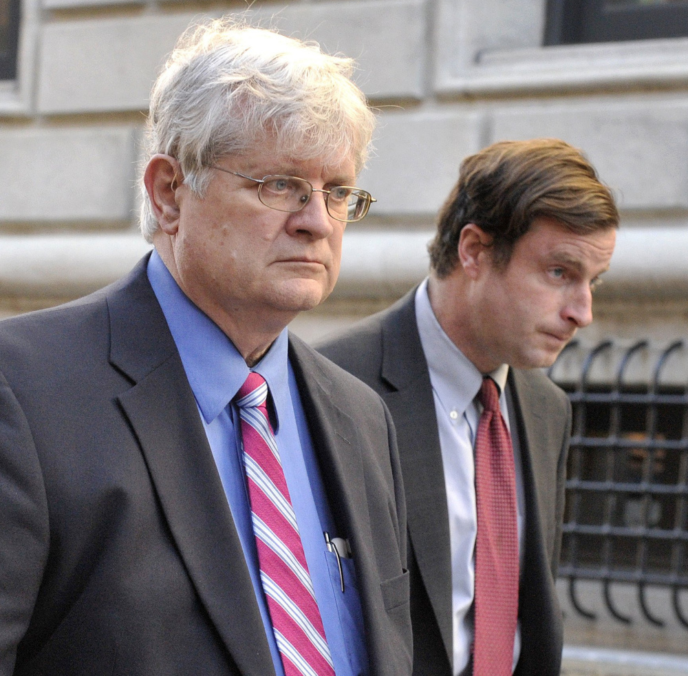 Dr. Joel Sabean and one of his attorneys, Albert C. Frawley, leave the federal courthouse in Portland following Sabean's conviction Nov. 18.