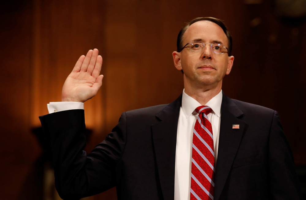 Deputy Attorney General Rod Rosenstein testifies before the Senate Judiciary Committee in March. Several former Justice Department officials who know Rosenstein said he did what he thought was right when he authored the rationale for firing FBI Director James Comey.