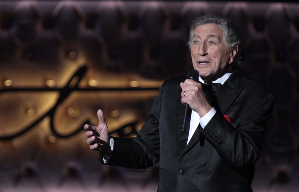 Singer Tony Bennett performs in Las Vegas, Nevada, in 2015. The star has postponed a concert scheduled for Thursday at Merrill Auditorium in Portland.