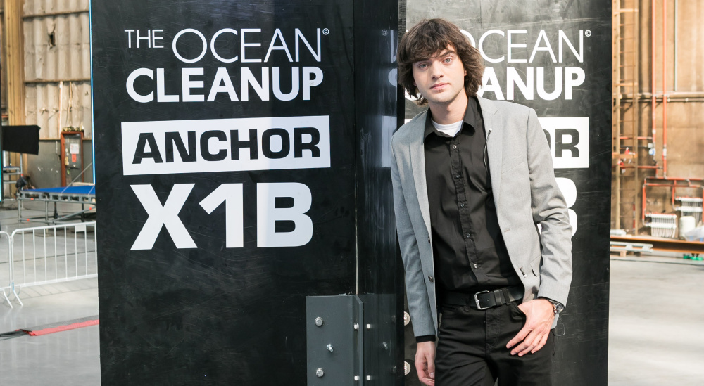Dutch university dropout Boyan Slat is the founder of The Ocean Cleanup, an organization that stretches a collection of  floating booms across the ocean that attract and collect plastic debris.