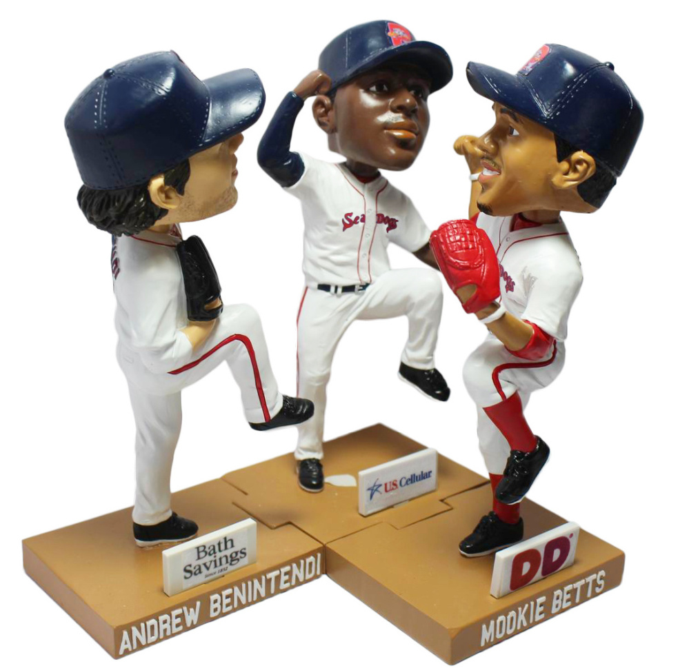 The Sea Dogs are holding Bobblehead Nights this season for three former players now with the Red Sox – Andrew Benintendi, Jackie Bradley Jr. and Mookie Betts.