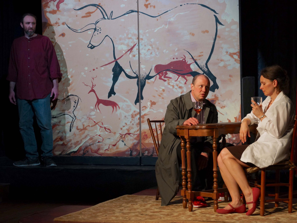 "Photo by Craig Robinson Josh Brassard, J.P. Guimont and Mary Fraser in ""Lascaux."""