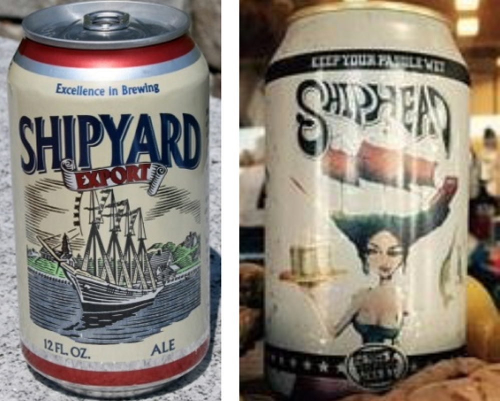 Shipyard objects to the name and packaging of the beer at right, from Logboat Brewing Co.