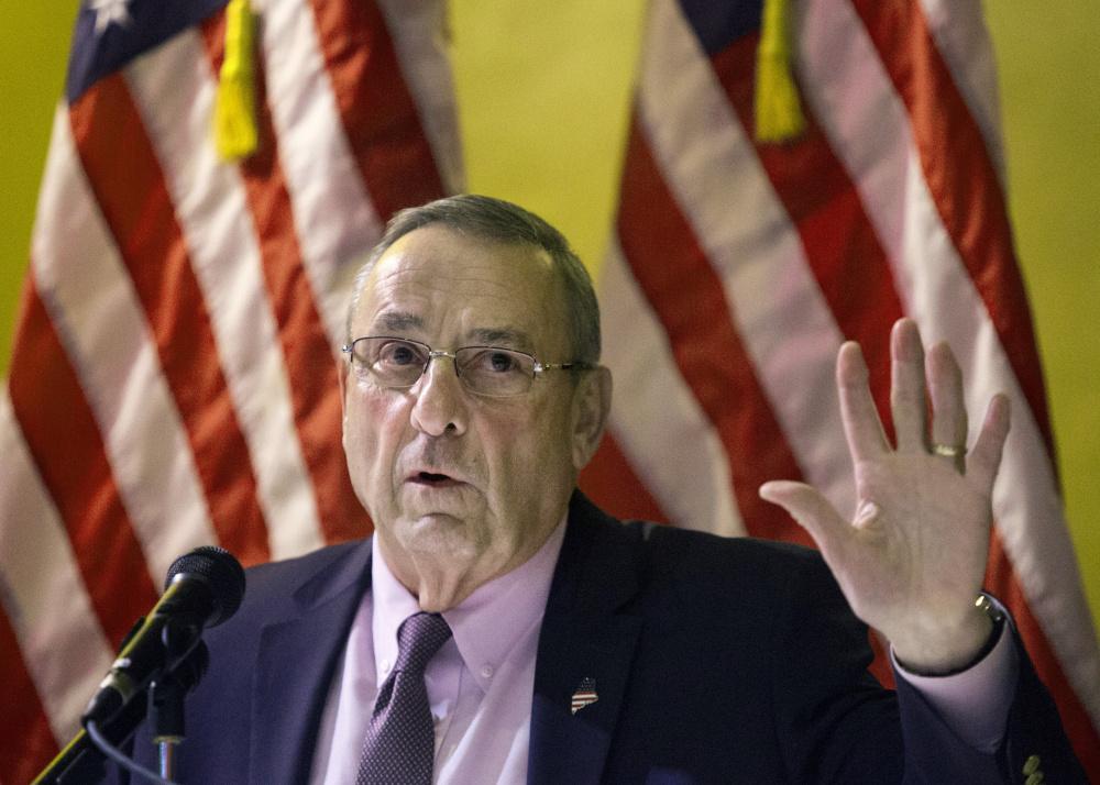 """Gov. Paul LePage says the proposed 5-cent deposit on nips bottles would """"put the state's financial health at risk."""""""