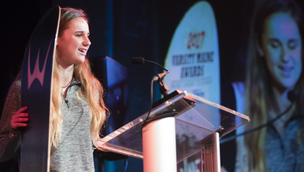 Emma Gallant, a standout track and field athlete at Cheverus, accepts her Fab Freshmen award during the Varsity Maine Awards. Staff photo by Carl D. Walsh