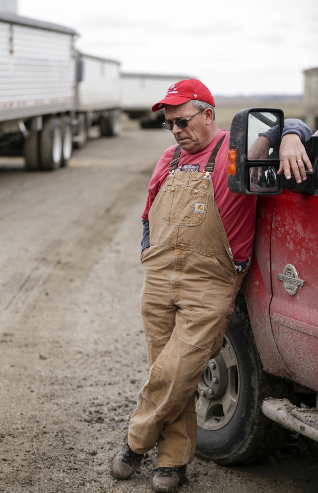 Blake Hurst, a corn and soybean farmer and president of the Missouri Farm Bureau, leans against a truck on his farm in Westboro, Mo., last month. President Trump has vowed to redo the North American Free Trade Agreement, but NAFTA has widened access to Mexican and Canadian markets, boosting U.S. farm exports and benefiting many farmers. Hurst says NAFTA has been good for his business and worries that he and many other U.S. farmers will lose out in a renegotiation.
