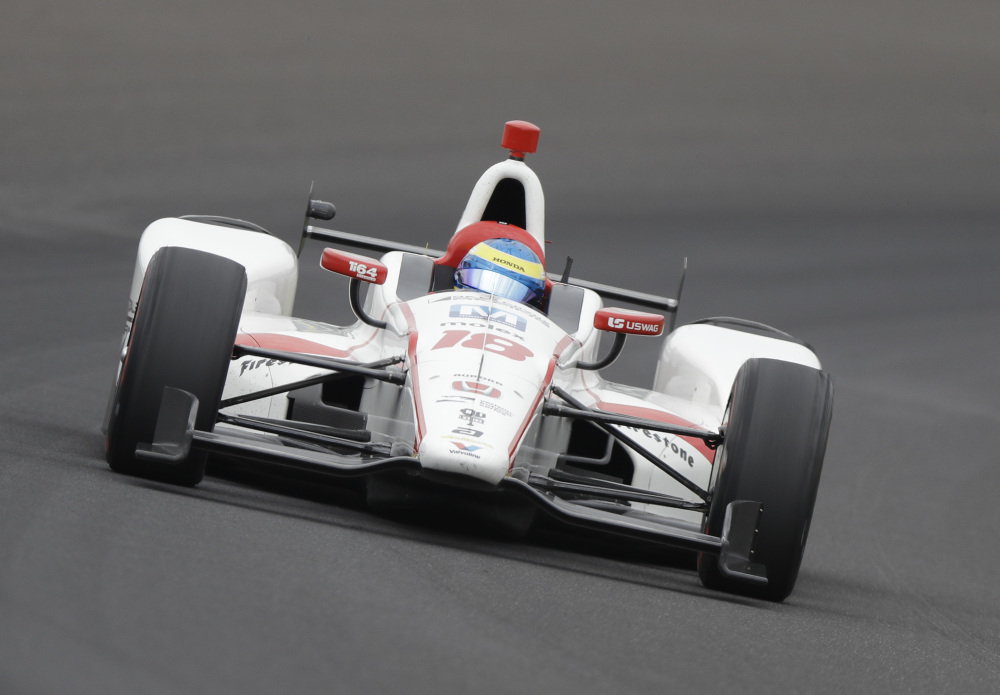 Sebastien Bourdais of France is one of a number of drivers contending for the pole position in the Indianapolis 500. Weather has led to an ever shifting leaderboard in practice.