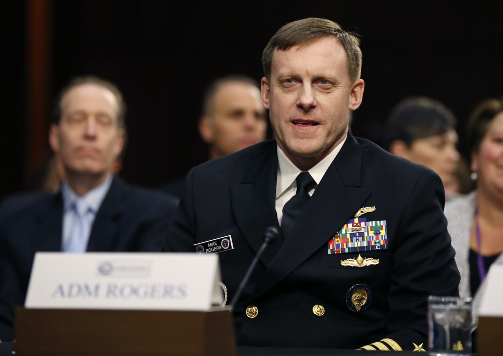 In a phone call with National Security Agency Director Adm. Michael Rogers, shown testifying in Washington in February, President Trump urged Rogers to speak out publicly if there was no evidence of collusion between Russia and the Trump campaign, according to officials briefed on the exchange.
