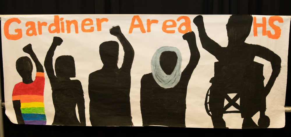 The Gardiner Area High School team's banner is on display at the Maine Civil Rights Team Project Conference on Monday in Augusta.