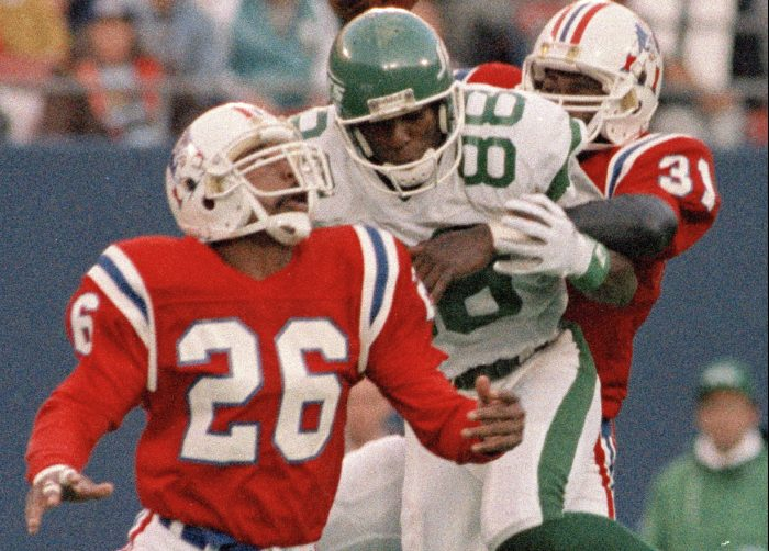 Raymond Clayborn, left, still shares the Patriots' career record for interceptions with 36 and was selected to the Pro Bowl three times.