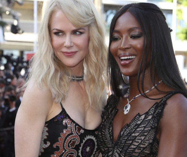 Actress Nicole Kidman, left, and model Naomi Campbell pose for photographers upon arrival Tuesday at the 70th anniversary of the film festival in Cannes, southern France.