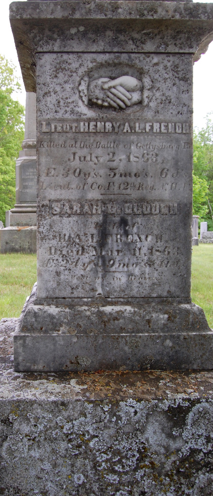 This monument in a Canterbury, N.H., cemetery marks the grave of of Lt. Henry French. French was killed July 2, 1863, in Gettysburg, Pa. Canterbury recently finished a yearlong project recording the veterans buried in its 34 cemeteries. , from the pre-Revolutionary War era to Vietnam. (John Goegel via AP)