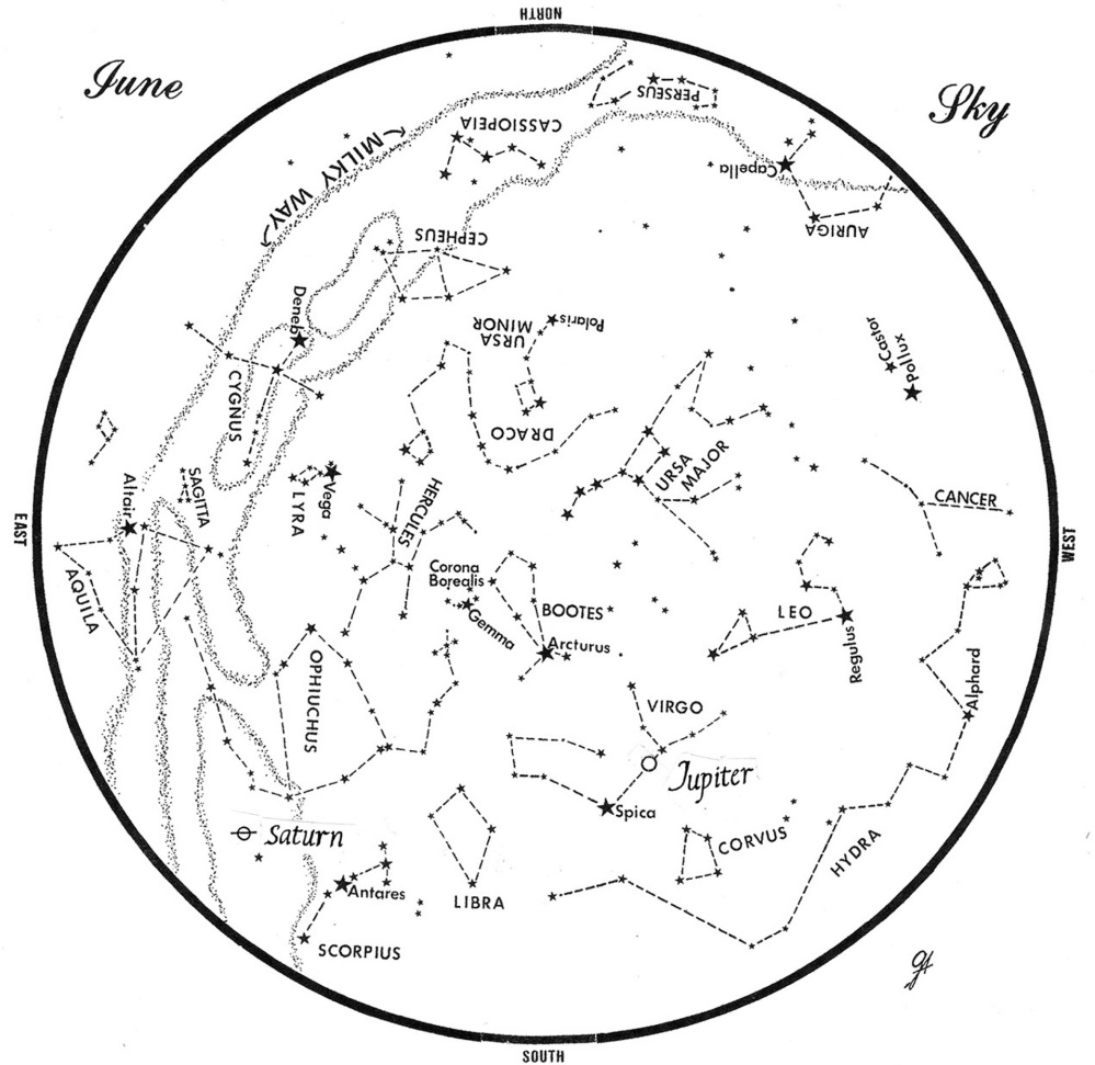 SKY GUIDE: This chart represents the sky as it appears over Maine during June. The stars are shown as they appear at 10:30 p.m. early in the month, at 9:30 p.m. at midmonth and at 8:30 p.m. at month's end. Saturn and Jupiter are shown in their midmonth positions. To use the map, hold it vertically and turn it so that the direction you are facing is at the bottom.