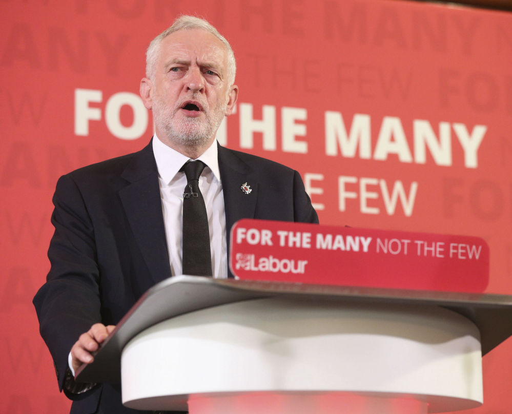 Britain's Labour Party leader Jeremy Corbyn delivers a speech during a general election campaign event in central London on Friday. Britain will hold a general election on June 8.