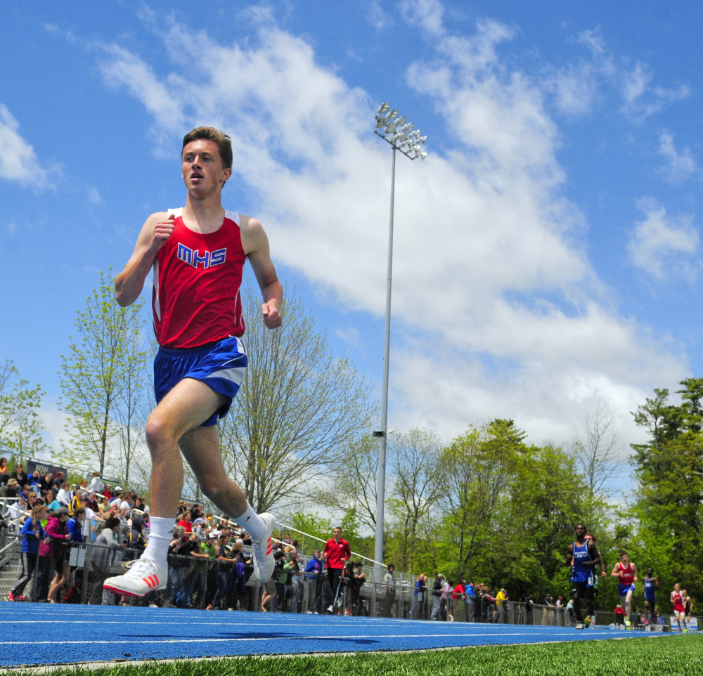 Owen Concaugh of Messalonskee opens up a big lead on his way to victory in the 1,600 meters Saturday at the Kennebec Valley Athletic Conference track and field championships in Bath. Concaugh finished in 4 minutes, 34.13 seconds – five seconds ahead of his closest challenger. Messalonskee won the boys' team title, while the Edward Little girls edged Messalonskee by a half-point.