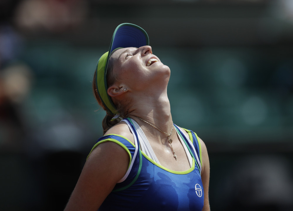 Ekaterina Makarova of Russia became the first women's player in the Open era to knock off a No. 1 seed in the first round of the French Open, cruising to a 6-2, 6-2 victory Sunday against Angelique Kerber of Germany