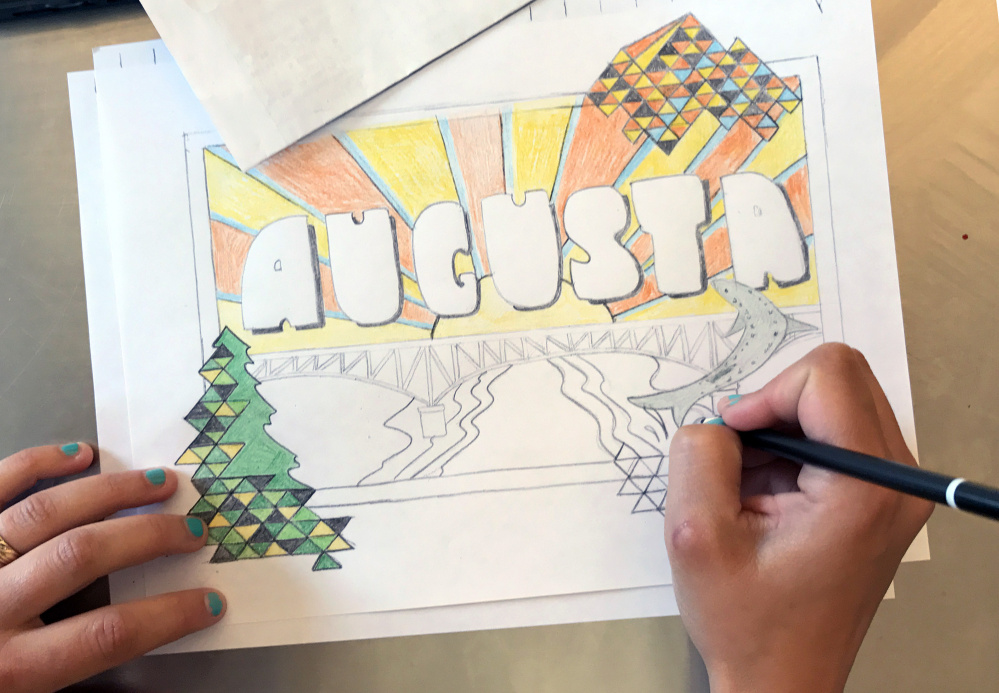 Marcea Crawford works on a postcard-style proposal for the Augusta mural project. Public art was recommended to the city as a way to increase the vibrancy of its downtown.