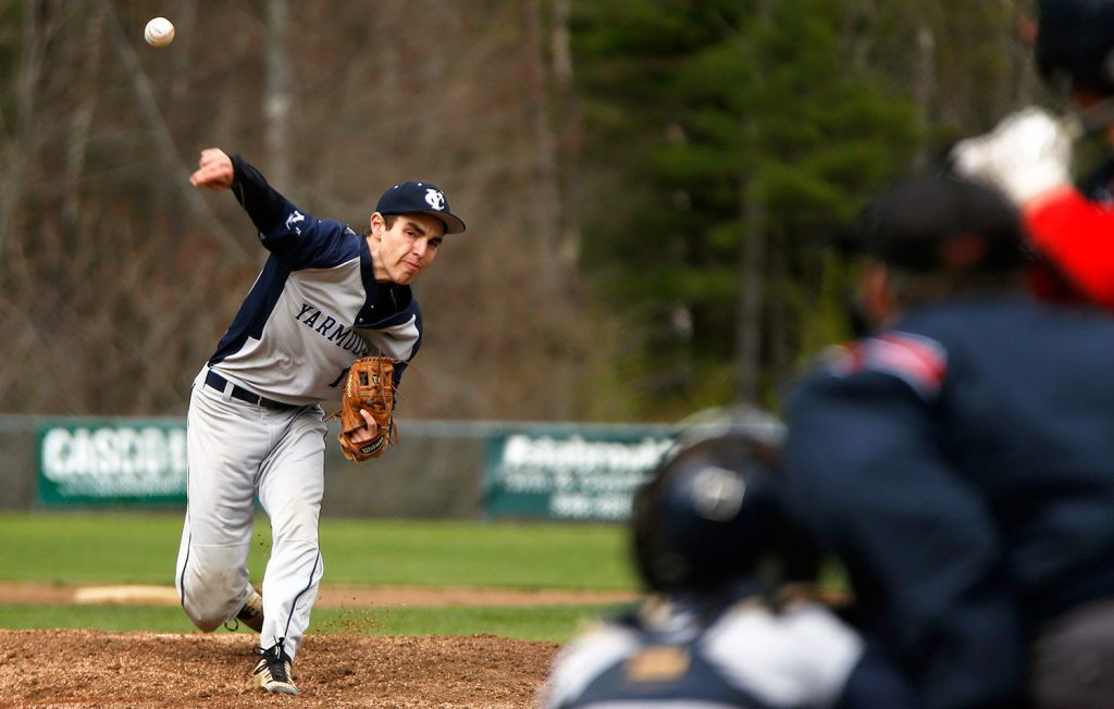 Yarmouth pitcher Gibson Harnett throws against New Gloucester on Monday. Harnett led Yarmouth to a 2-1 home win, giving up just four hits while striking out eight batters.