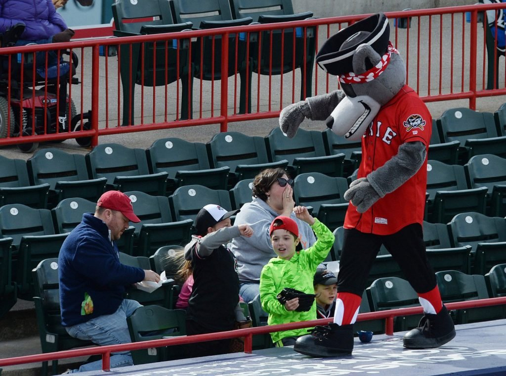 Erie SeaWolves mascot C. Wolf gets the fans excited during an April game against the Binghamton Rumble Ponies at UPMC Park in Erie, Pa.