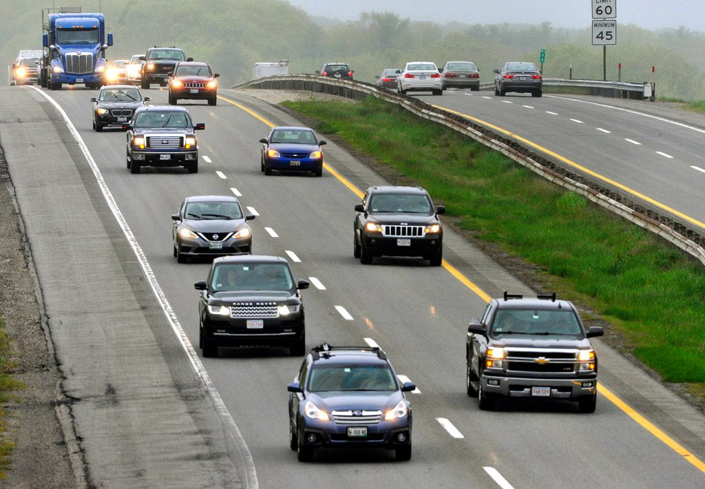 Memorial Day holiday traffic builds on the Maine Turnpike in Portland on Friday. The Maine Turnpike Authority expects about 960,000 vehicles on the highway this weekend.
