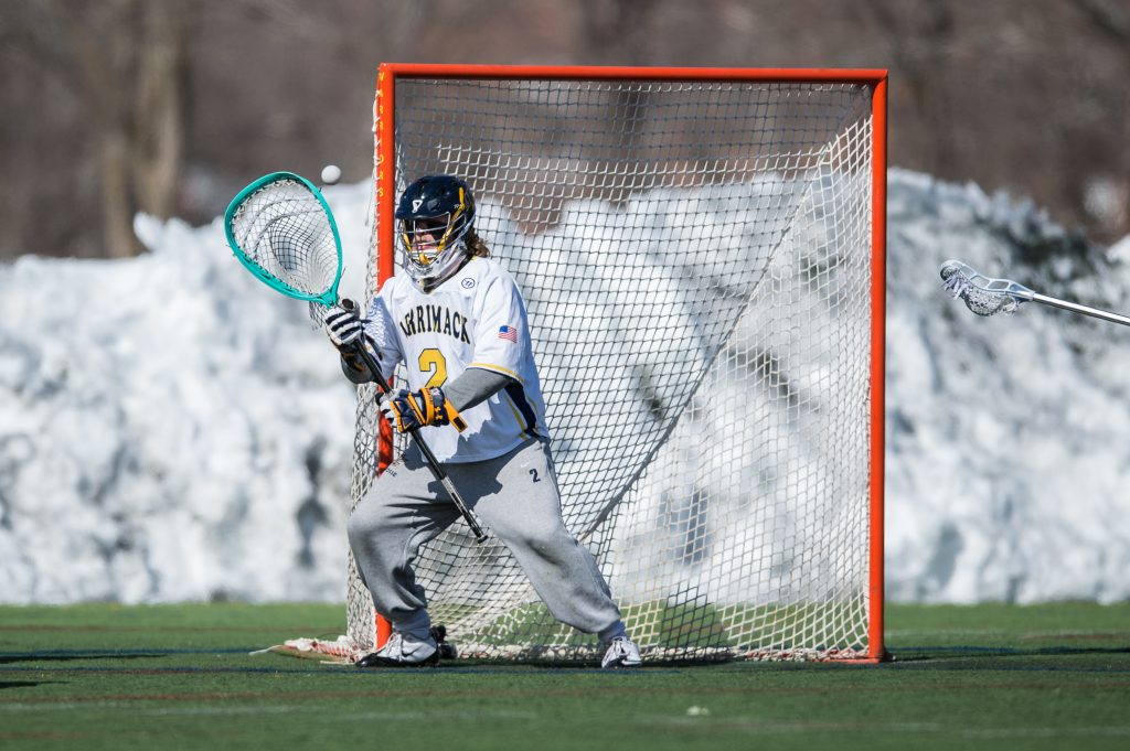 "Merrimack goalie Edward ""T-Moe"" Hellier of South Portland will be playing in goal in Sundays NCAA Division II championship game."