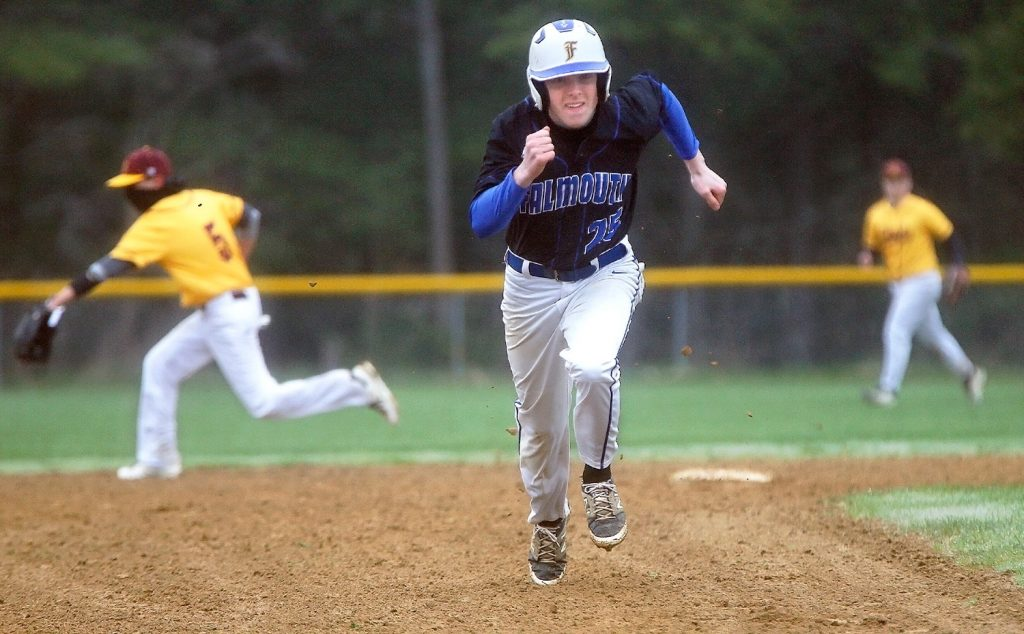 Falmouth senior Will Blum makes a dash for third base against Cape Elizabeth on Monday afternoon.