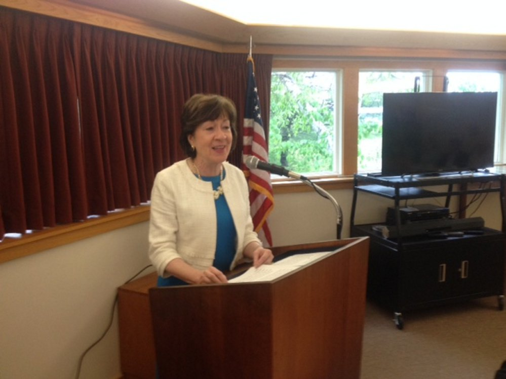 U.S. Sen. Susan Collins, R-Maine, speaks Friday at the Margaret Chase Smith Library during the 28th annual Maine Town Meeting.