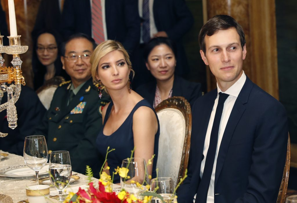 Jared Kushner and his wife, Ivanka Trump, attend a dinner with President Trump and Chinese President Xi Jinping at Mar-a-Lago on April 6 in Palm Beach, Fla.