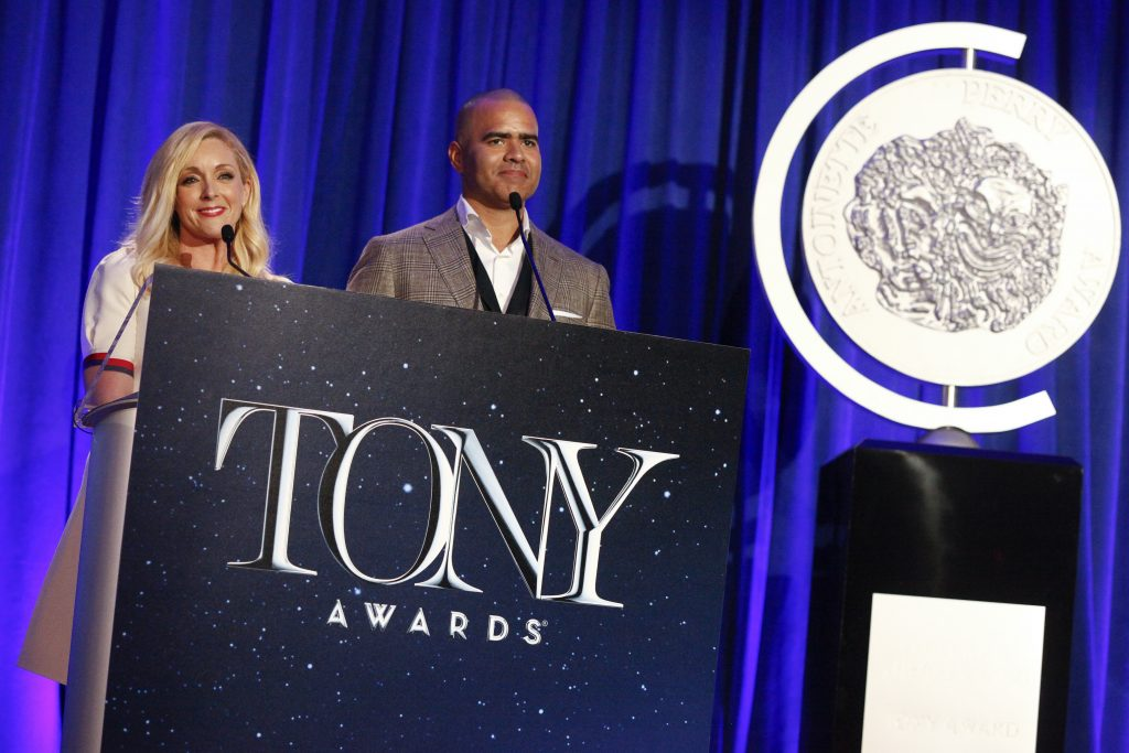 Jane Krakowski and Christopher Jackson announce the 2017 Tony Award Nominations at The New York Public Library for the Performing Arts at Lincoln Center on Tuesday.