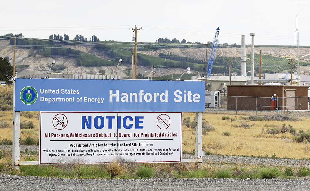 A sign informs visitors of items prohibited on the Hanford Nuclear Reservation near Richland, Wash. Hanford for decades made plutonium for nuclear weapons and is now the largest depository of radioactive defense waste that must be cleaned.