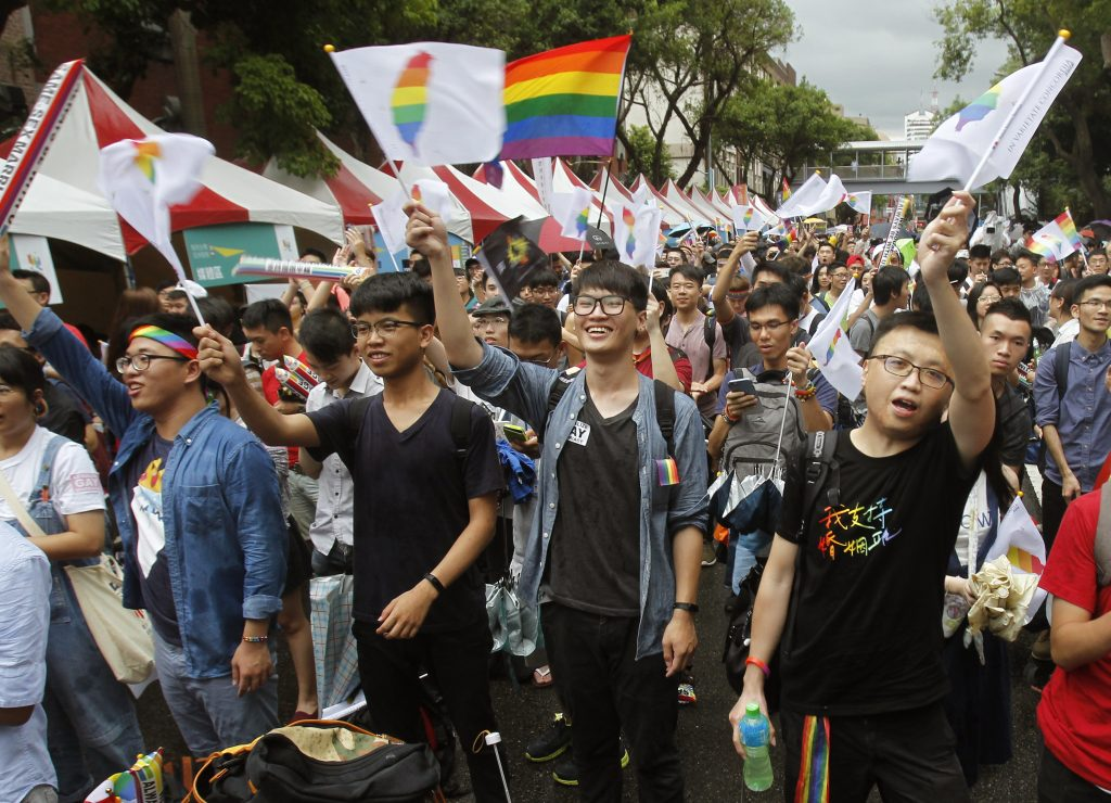 Supporters cheer after the Constitutional Court ruled in favor of same-sex marriage outside the Legislative Yuan in Taipei, Taiwan, on Wednesday.