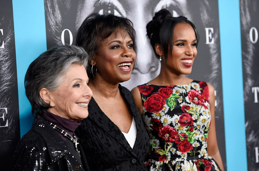 Anita Hill, center, subject of the HBO film