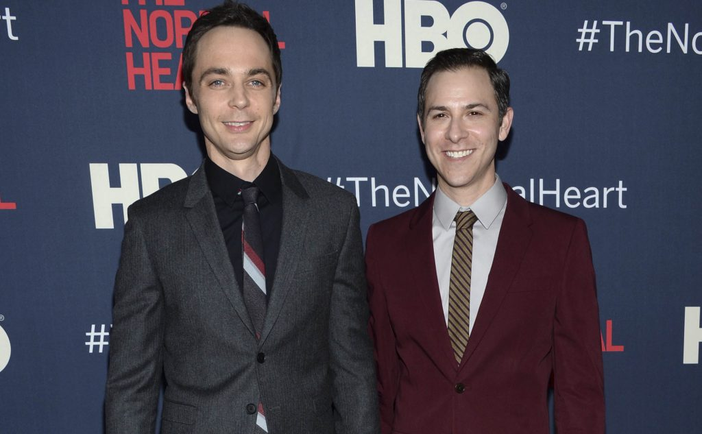 Jim Parsons, left, attends a New York premiere with Todd Spiewak in 2014. Parsons' publicist confirmed multiple reports on Monday that Parsons, who stars in