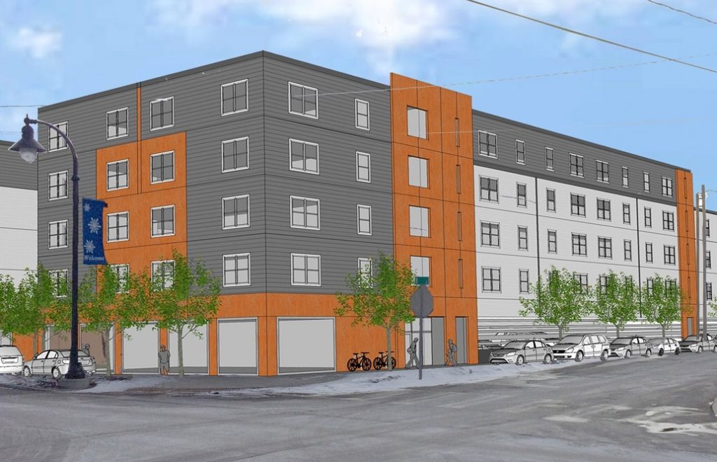 An architect's rendering of the affordable apartment or condo building that the South Portland Housing Authority wants to build at Ocean and B streets in the city's Knightville neighborhood.
