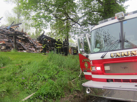 Ruins of the fire in Union that claimed the life of 80-year-old Lawrence Dries.