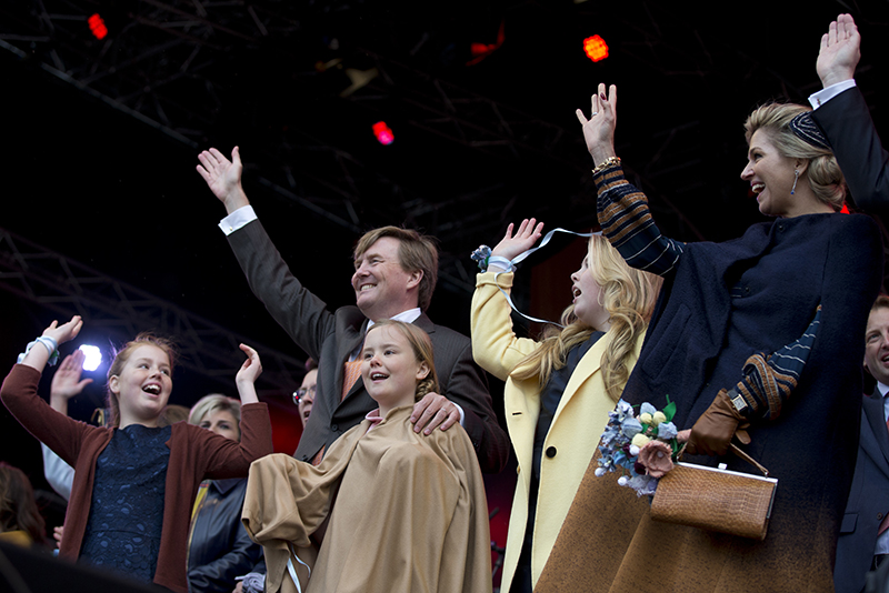 Princess Alexia, Dutch King Willem-Alexander, Princess Ariane, Princess Amalia and Queen Maxima, from left, take part in celebrations marking the King's 50th anniversary in April 2017.