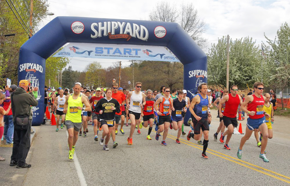 Runners start the Maine Coast Marathon in 2016. Because of a problem with this year's course, some runners ran farther than others.