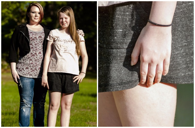 In this composite image, Danica Gagne, left, stands with her daughter Peyton Guay, 12. Peyton and her mother have been working on revising the Oak Hill Middle School dress code so Peyton can wear shorts to school without worrying about violating the dress code. At right, Peyton demonstrates the current dress code system at Oak Hill Middle School that involves measuring with fingers on the outside of the shorts.