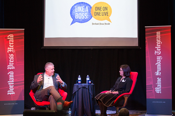 Mike Vail of Hannaford Supermarkets talks with Like a Boss host Lisa DeSisto at the Like A Boss event.