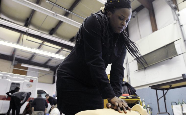 Jolly Ntirumenyerwa of Portland, who was a doctor in the Democratic Republic of Congo, practices CPR during an EMT training class in March. Immigration is necessary to fuel Maine's economy and lift everyone up.