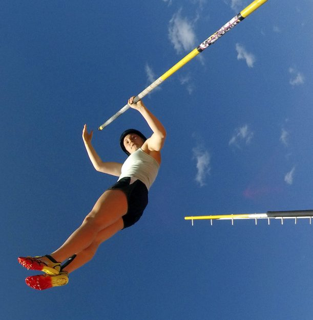 Scarborough junior Kirsten Dennen takes flight during pole vaulting practice Thursday afternoon. Dennen placed second last weekend in the SMAA championships, part of a 1-2-3 finish for the Red Storm, who go into Saturday's Class A state meet with three of the top five seeds in the pole vault.